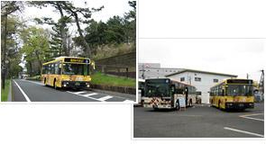 走行の様子と箱根登山バスと並んだ様子